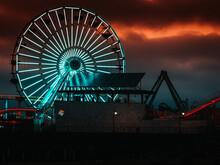 Spooky Ferris Wheel At Night