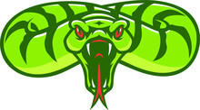 Aggressive Snake Opening Its Mouth Attacking The Prey Sport Logotype