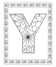 Letter Y Coloring Page. Floral Coloring. Vector Illustration.