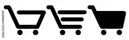 Fotografering Shopping cart line and flat icon