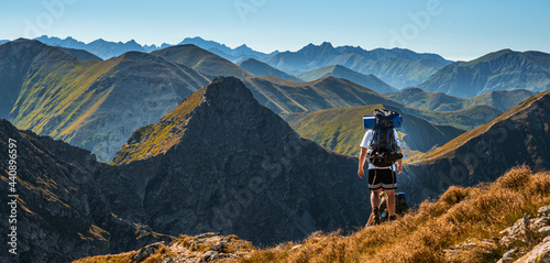 Slovakia High Tatras Mountains with meadow, Zapadne tatry Slovakia. Hiking in slovakia moutains banikov and ziarska valley.