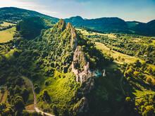 Historic Ruins Of Lednica Castle , Slovakia Travel. Summer Green Landscape..