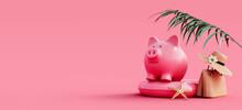 Piggy Bank With Summer Accessories Ready For Vacation On Pink Background 3D Rendering, 3D Illustration