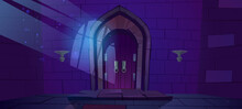 Dungeon, Medieval Castle Night Interior With Moonlight Fall On Wood Arched Door And Barred Window Shadow On Stone Wall. Entry In Ancient Palace Cartoon Vector Illustration