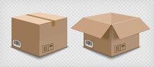 Open And Closed Cardboard Boxes Template