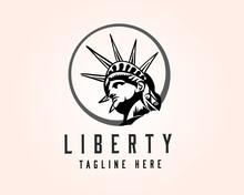 Circle Head Of Statue Liberty Logo Design Template Illustration