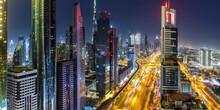 Dubai Sheikh Zayed Road Burj Khalifa Kalifa Skyscraper Building Skyline Architecture Panorama In United Arab Emirates