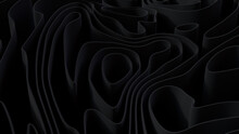 Abstract Background Created From Black 3D Undulating Lines. Dark 3D Render.