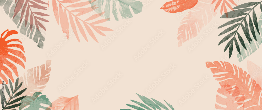 Obraz Pink summer tropical background vector. Palm leaves, monstera leaf, Botanical background design for wall framed prints, wall art, invitation, canvas prints, poster, home decor, cover, wallpaper. fototapeta, plakat