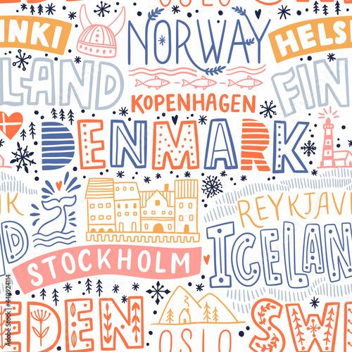 Tapety Skandynawskie  dookola-swiata-nordic-europa-wektor-napis-wzor-kraj-i-glowne-miasta-ilustracja-wektorowa