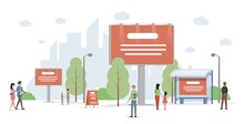City Advertising Vector Flat Illustration. Urban Cityscape With Billboards And Banners. Business, Company Promotion, Marketing Campaign Concept. Outdoor Landscape With Commercial Information.