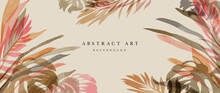 Summer Tropical Background Vector. Palm Leaves, Monstera Leaf, Botanical Watercolor Background  For Wall Framed Prints, Wall Art, Invitation, Canvas Prints, Poster, Home Decor, Cover, Wallpaper.