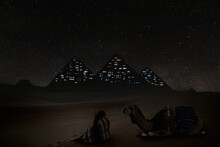 Futuristic And Dystopian View Of The Great Pyramid In Egypt. Conceptual Scene Of The Great Pyramid Converted Into A Modern Office Building.