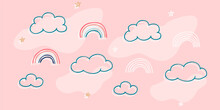 Children's Print With Rainbows, Background For Girls, Pattern For Children's Bed Linen, Print For Little Girls, Clouds, Stars, Abstraction, Pink Pattern