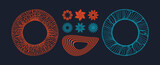 Abstract design elements. Set of graphic flowers. Retro musical plate made of wavy lines. Vector illustration.