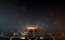 Black And Gold Luxury Podium With Sparks Effect