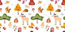 Autumn Seamless Pattern With Forest Animals And Trees. Animal Pattern. For Textile, Paper, Wrapping Paper, Packaging. Vector Pattern.