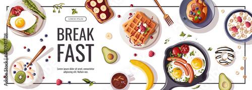 Photo Promo flyer for breakfast menu, healthy eating, nutrition, cooking,  fresh food, dessert, diet, pastry, cuisine