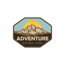 National Park Badge Patch Emblem Vintage Retro Mountai Sun And Sky Landscape Illustration