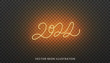 2022 Neon Lettering. Bright Orange Sign For New Year 2022