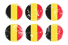 Belgian Flag Grunge Textures Set. National Flag Of Kingdom Of Belgium. Grungy Effect Templates Collection For Greetings Cards, Posters, Celebrate Banners And Flyers. Vector Illustration.