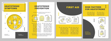 Heatstroke Symptoms Brochure Template. Sun Stroke Prevention. Flyer, Booklet, Leaflet Print, Cover Design With Linear Icons. Vector Layouts For Presentation, Annual Reports, Advertisement Pages