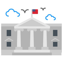 The White House Concept,  Official Residence And Workplace Of The President Vector Color Icon Design, American Culture And Traditions Symbol, United States Social Sign, US Arts And Literature Stock