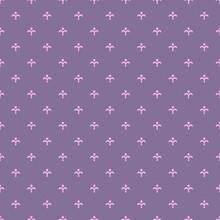 Fleur De Lis Ancient French Floral Royal Seamless Pattern With Pink Ornament Of Fleur-de-lis Elements On Dark Blue Background. Vintage Interior Accessories Or Textile Theme. Baroque Pattern