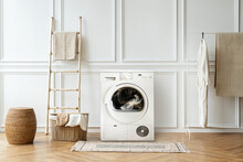 Washing Machine In A Japandi Interior Home