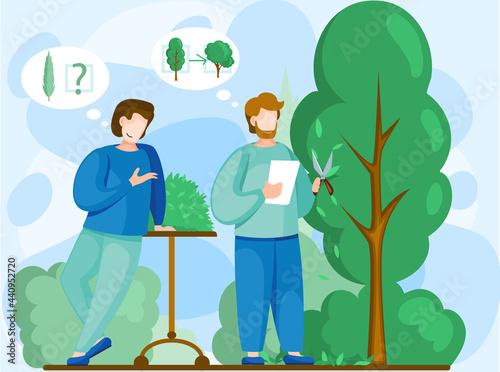 Stampa su Tela Men discuss tree planting plan