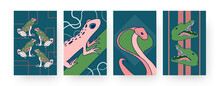 Set Of Contemporary Art Posters With Bright Reptiles. Vector Illustration