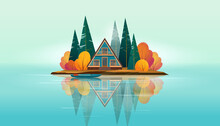 Wooden A-frame House Surrounded By Fir Trees And Bushes And A Boat Near The Shore  On A Small Island On The Lake. Lake Island Is Reflected In The Water. Flat Vector Illustration