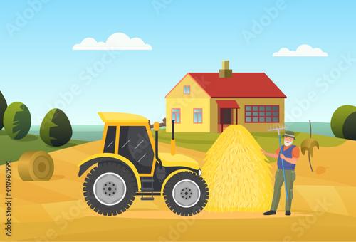 Fototapeta Farmer people work in village rural landscape vector illustration