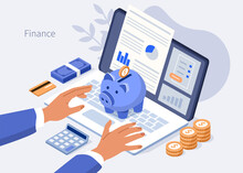 Character Typing On Laptop With Financial Report On Screen. Accountant Managing Budget And Making Savings. Saving Money And Economy Concept. Flat Isometric Vector Illustration.