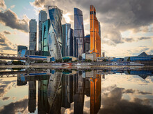 Moskva-city District In Moscow. Architecture Of Russia. Skyscrapers In Center Of Russian Capital. Business Center Of Moscow Near River. Moscow City Complex On A Background Of Sky. Dountown In Russia