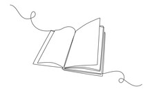 Continuous One Line Drawing Opened Book. Education Study And Knowledge Library Concept. Vector Illustration