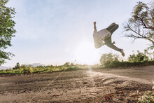 Man Jumping And Showing Parkour Stunt