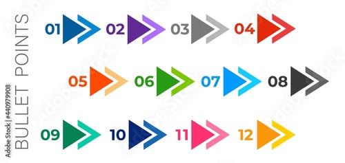 Obraz na plátne Colourful arrows set isolated on white background