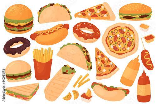 Obraz na plátne Fast food restaurant menu set vector illustration