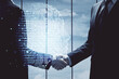 Leinwandbild Motiv Double exposure of brain hologram and handshake of two men. Partnership in IT industry concept.