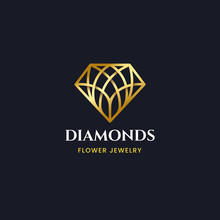 Luxury Gold Diamond With Floral Pattern Logo Design