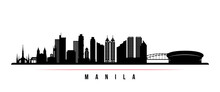 Manila Skyline Horizontal Banner. Black And White Silhouette Of Manila, Philippines. Vector Template For Your Design.
