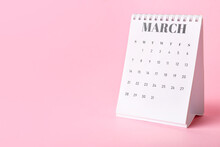 Flip Calendar With Page Of March On Color Background