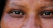 African Woman Eyes, Mature Black Person Macro Close-up