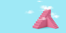 3d Realistic Style Pink Stairs With Clouds. Success Or Growth Concept. Vector Illustration.