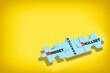 Leinwandbild Motiv Mindset, skillset and success written on blue puzzle isolated on yellow background. Business leadership development concept and teamwork with communication idea