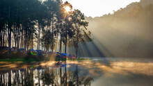 Pang Ung Lake With Foggy In Morning, Mae Hong Son, Thailand.