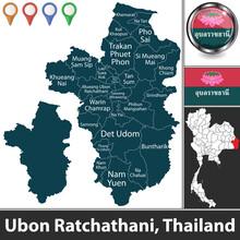 Map Of Ubon Ratchathani, Thailand
