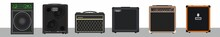 Set Of Bass And Guitar Amplifiers And Speakers. Concert Equipment. Material For Rider Of Artist-musician. Rehearsal Combo. Music Studio Theme. Guitar Monitoring. Portable Monaural Speaker System.