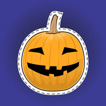 Carved Scary Pumpkin, Jack-o-Lantern On A Purple Violet Pop Art Halftone Background, Halloween Holiday, Black Dots In The Form Of A Circle, Pins Or Patches, Retro Style, Vector Illustration